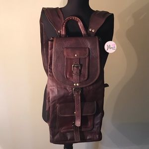 Handbags - Medium Size Vintage Leather Dark Brown Book Bag.